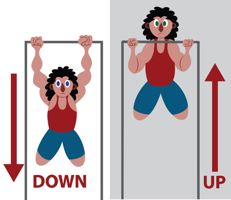 An athlete doing some Pull Ups Illustration