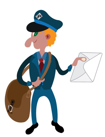 A postman delivers mail