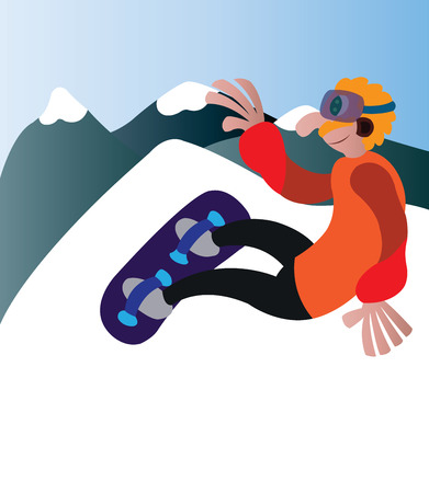 a snowboarder having a fun time outdoors 일러스트