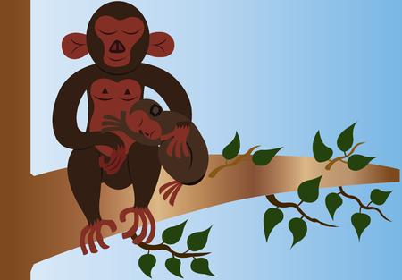 A monkey giving its baby a big hug
