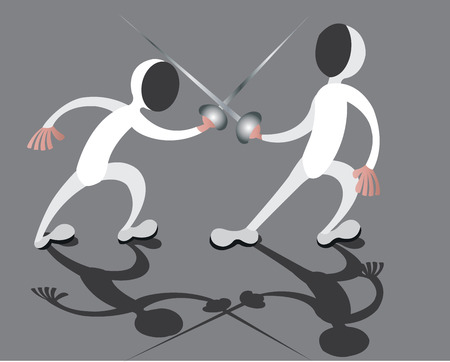 two fencers in fierce combat Illustration