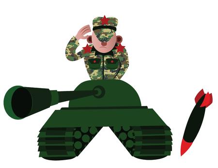 Un commandant de char partant au combat