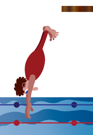 a professional diver plunging into the water Illustration