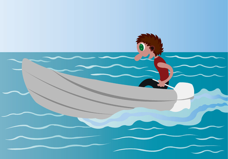 A boy driving a boat in a calm lake