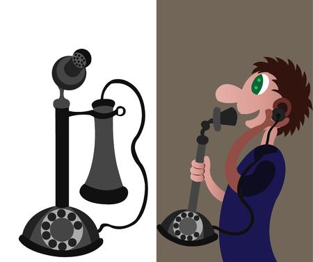 una persona che utilizza una forma molto precoce del telefono Vettoriali