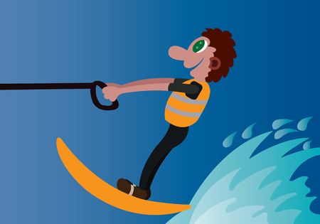 a water skier rides on a wakeboard Illustration