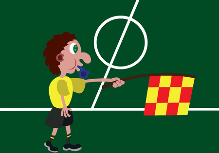 a linesman  busy outside the pitch