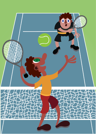 Two guys having a fun time playing tennis Çizim