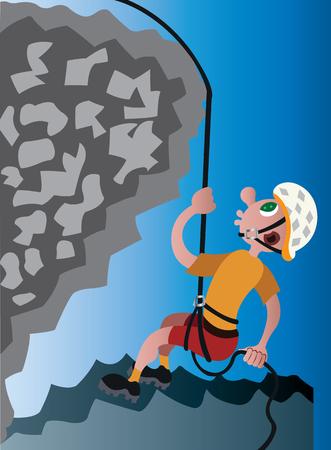 a mountaineer descending down a rock face Vectores