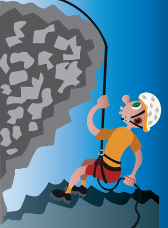 a mountaineer descending down a rock face Illustration