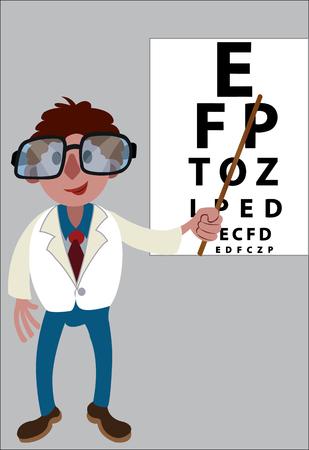 An optometrist points at an eye chart