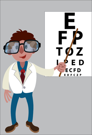 An optometrist points at an eye chart