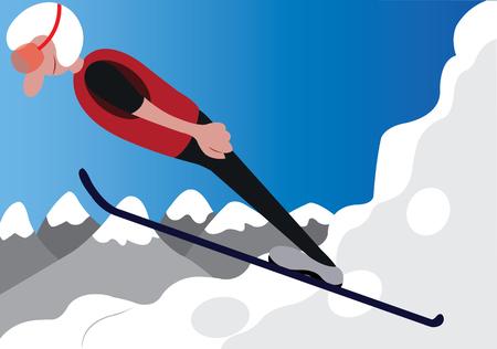 a ski jumper does a stunt on a ski resort Illustration