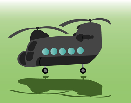 a twin rotor helicopter ready for take off Illustration