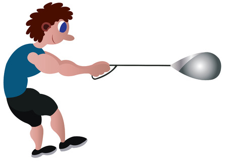 an athlete ready to throw an hammer Illustration