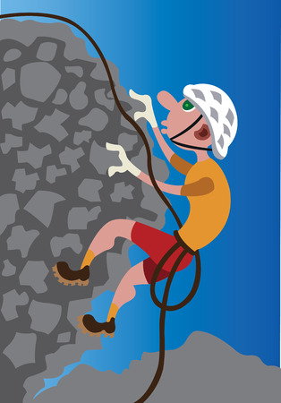 A rock climber scaling it to the heights Ilustração