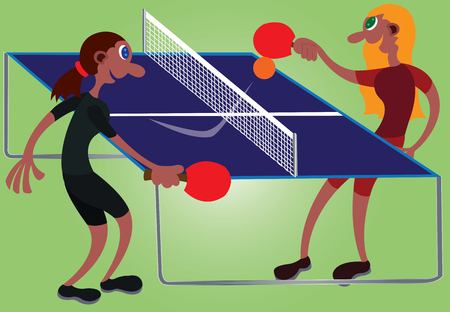 two table tennis champions challenge one another