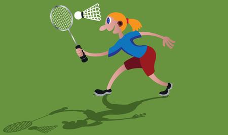 a Sportsperson playing badminton Çizim