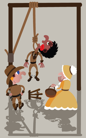 a condemned man being hanged Illustration