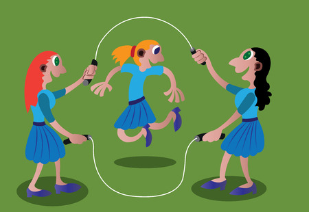 a bunch of school girls playing skipping rope Illustration