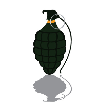 a hand grenade ready for use