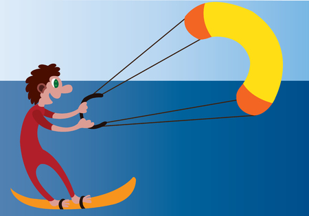 a kite surfer enjoys himself on the beach front Illustration