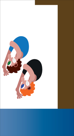 two athletes diving in a synchronized manner Stock Illustratie