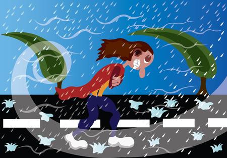 A traveler caught out in a fierce Hailstorm 일러스트