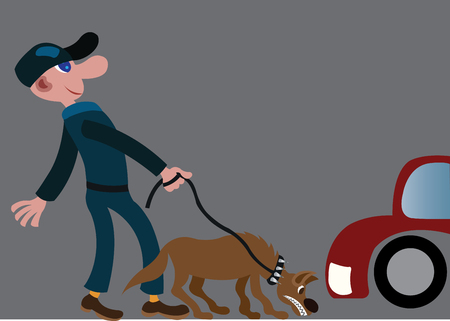 Ein Parkwächter überprüft die Fahrzeuge der Kunden mit einem Spürhund Vektorgrafik