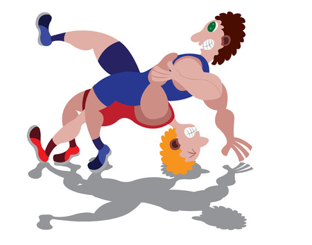 two wrestlers struggle with one another