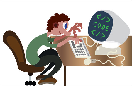 A programmer busy doing some coding