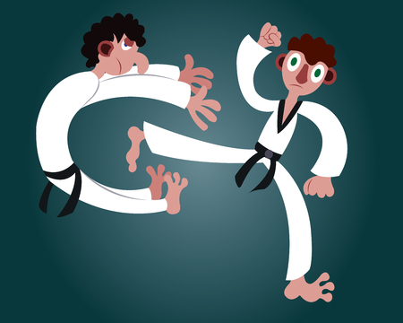 a martial artist gives another a mighty kick Ilustração