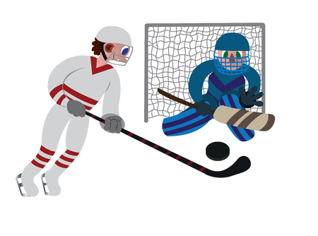 an ice hockey player about to make a score,