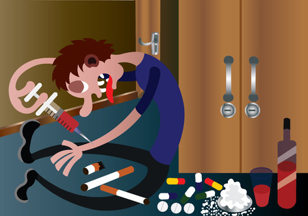A drug addict injects himself with narcotic drugs