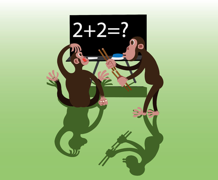 two chimps trying to workout a maths quiz Illustration