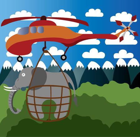 A skycrane lifts a heavy elephant cargo Vectores