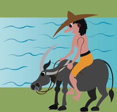 a farmer rides on the back of his buffalo Illusztráció