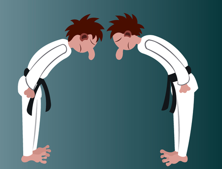 two martial artist bow at one another before starting a match 일러스트