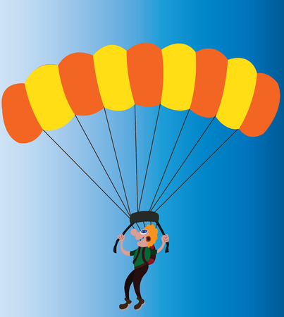 a paraglider enjoys an air descend Illustration