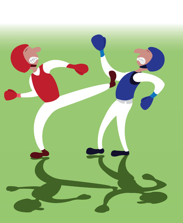 two taekwondo martial artists fighting one another Vettoriali