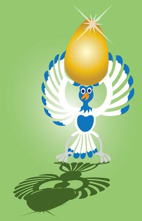 a goose holds up a golden egg