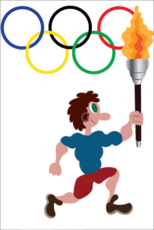 an athlete running with the Olympic torch with Olympic flag in the background