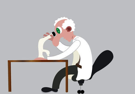 a biologist looks into a specimen using a light microscope Çizim