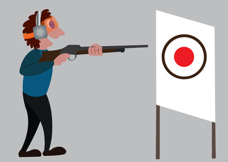 a shooter aims at a target in a sport Illustration