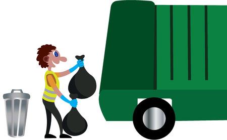a garbage man collecting garbage bags