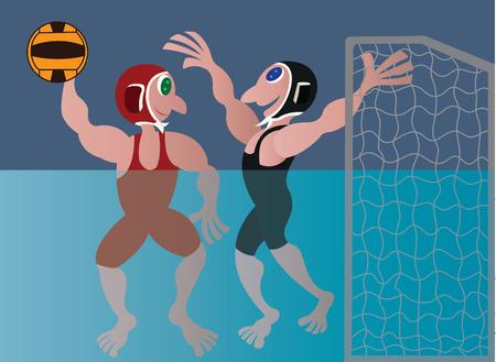 athletes compete in a water volleyball sport Illusztráció