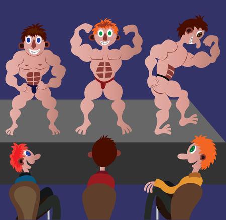 A group of bodybuilders showing off their muscles in a public competition
