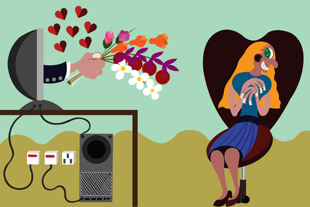 A girl receives a bouquet of flowers from a guy through an online dating site Ilustração
