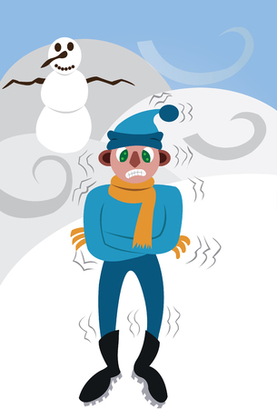 A guy freezing out in the winter cold Illustration