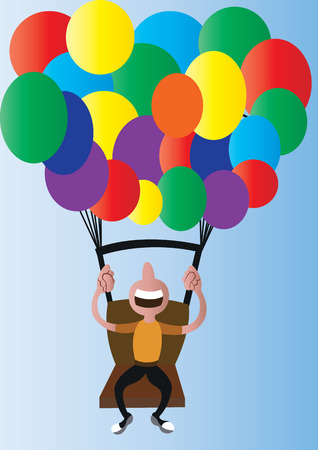 a balloonist lifted off the ground by his numerous balloons, Illustration